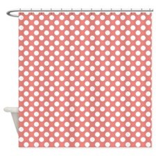 Coral Pink Polka Dots, square Shower Curtain