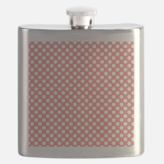 Coral Pink Polka Dots, square Flask