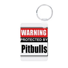 Warning Pitbulls Keychains