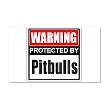 Warning Pitbulls Car Magnet 20 x 12