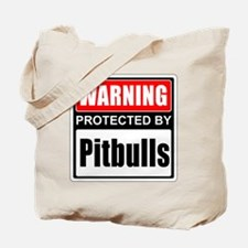 Warning Pitbulls Tote Bag
