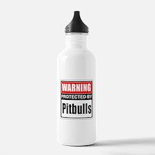 Warning Pitbulls Water Bottle