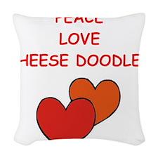 cheese doodle Woven Throw Pillow