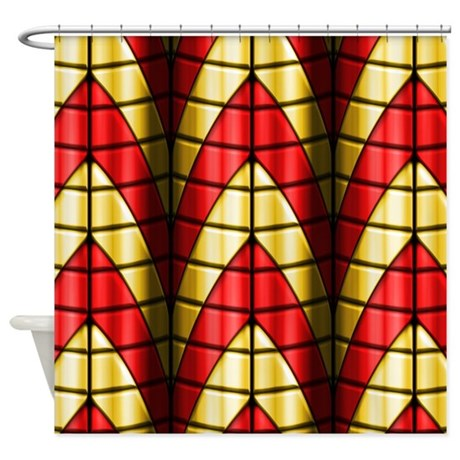 Superheroes Red And Gold Shower Curtain By PhantasmDesigns