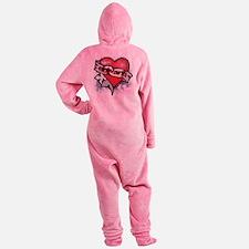 EDWARD TATTOO HEART 2 copy Footed Pajamas