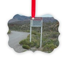 Groom Lake Road Warning Sign Picture Ornament