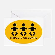 triplets_Sticker-oval Greeting Card