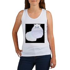 white cat on black Women's Tank Top
