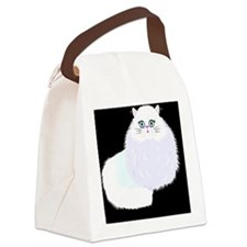 white cat on black Canvas Lunch Bag