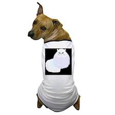 white cat on black Dog T-Shirt