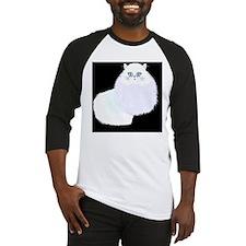 white cat on black Baseball Jersey