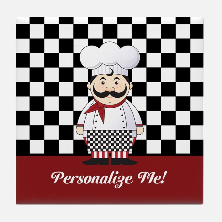 Personalized French Chef Tile Coaster