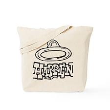 condom_happen_left_BW_green_yellow_shirts Tote Bag