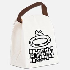 condom_happen_left_BW_green_yello Canvas Lunch Bag