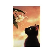 Cat and Flower Rectangle Magnet