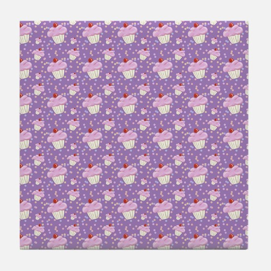 Purple Cupcake pattern Tile Coaster