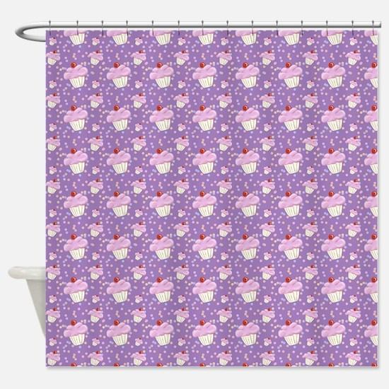 Purple Cupcake pattern Shower Curtain