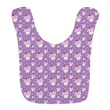 Purple Cupcake pattern Bib