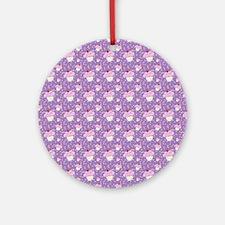 Purple Cupcake pattern Ornament (Round)