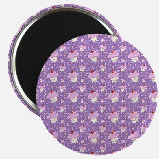 Purple Cupcake pattern Magnets
