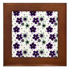 Purple Pansy flower pattern Framed Tile