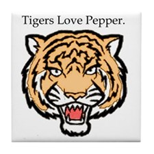2-tigers love pepper Tile Coaster