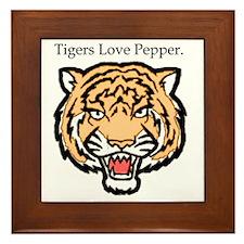 2-tigers love pepper Framed Tile