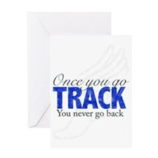 once_you_go_track_blue_large Greeting Card