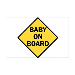 baby on board yellow Posters