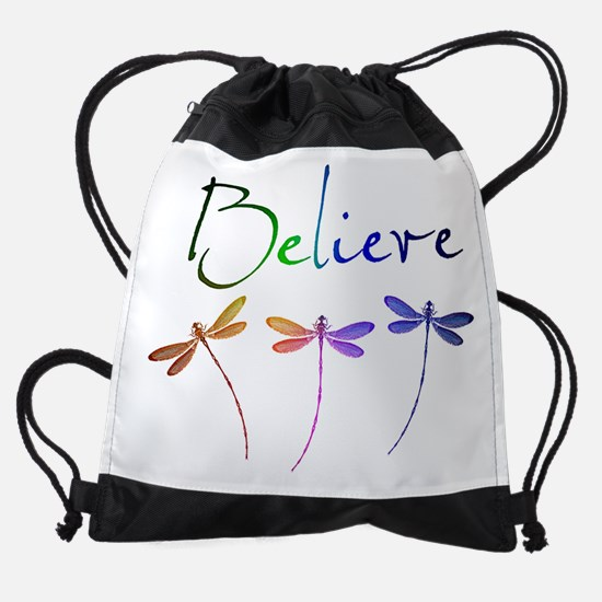 Believe...dragonflies Drawstring Bag