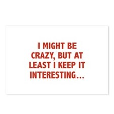 I Might Be Crazy Postcards (Package of 8)