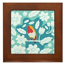 Coloured Robin Framed Tile
