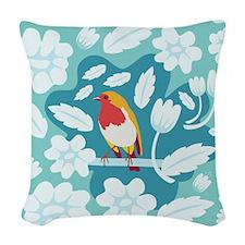 Coloured Robin Woven Throw Pillow