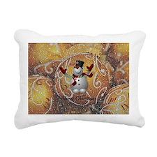 Merry Christmas Snowman Rectangular Canvas Pillow