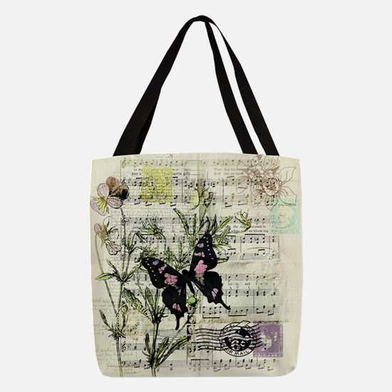 Pansies and music Polyester Tote Bag
