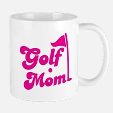 GOLF MOM! with a golf ball and flag Mugs