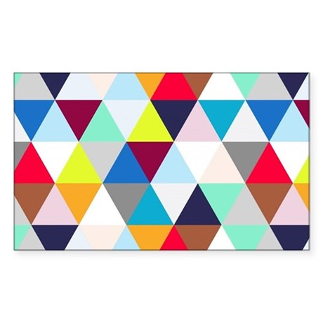 Multicolored Triangles Sticker (Rectangle)