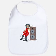 guitar female punk red against speaker Bib