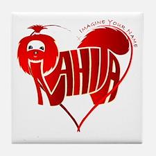 Anahita red shihtzu for valentine Tile Coaster
