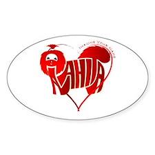 Anahita red shihtzu for valentine Oval Bumper Stickers