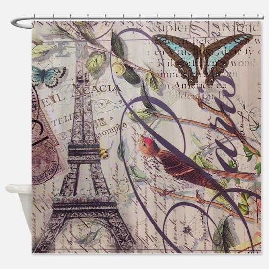 butterfly birds vintage paris botan Shower Curtain