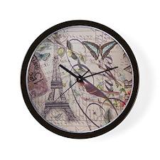 butterfly birds vintage paris botanical Wall Clock