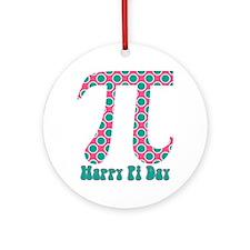 Retro Polka Dots Pi Day Round Ornament