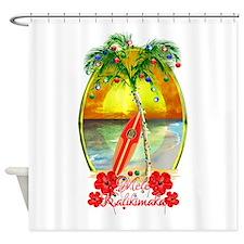 Mele Kalikimaka Surfboard Shower Curtain