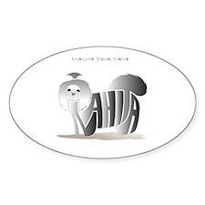 Anahita black and white shihtzu Oval Decal