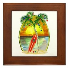 Christmas Beach Sunset Framed Tile