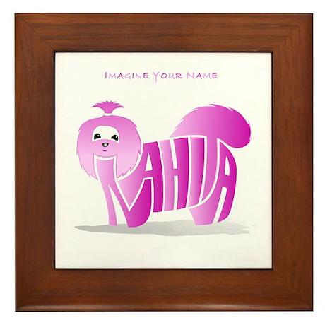 Anahita pink shihtzu Framed Tile