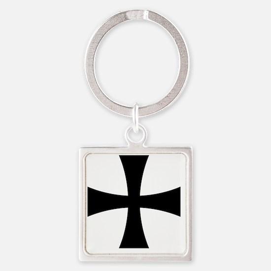 Cross Formee - Black Square Keychain