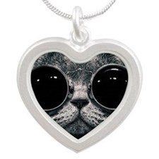 Cute cat  Silver Heart Necklace