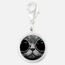 Cute cat  Silver Round Charm